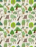 Seamless tree pattern Stock Images