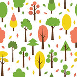 Seamless tree pattern in flat style. Cute background for your de Stock Photo