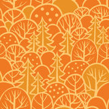 Seamless tree pattern with forest illustration. Stock Photos