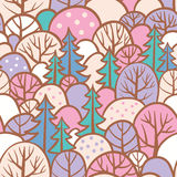 Seamless tree pattern with forest illustration. Royalty Free Stock Image