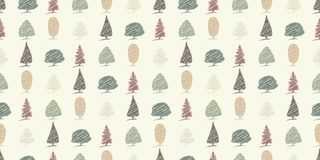 Seamless tree sketches background pattern Stock Photography