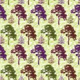 Seamless, trees and abstract pattern Royalty Free Stock Photography
