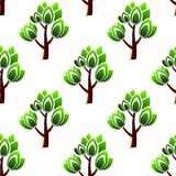 Seamless trees with leafy branches pattern Royalty Free Stock Photos