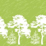 Seamless trees silhouettes and abstract pattern Royalty Free Stock Photo