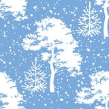 Seamless, trees silhouettes and snow. Seamless Christmas background, winter forest with trees silhouettes and snow. Vector Stock Photography