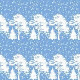 Seamless, trees silhouettes and snow. Seamless Christmas background, winter forest with trees silhouettes and snow. Vector Royalty Free Stock Photo