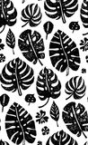 Seamless trendy black pattern with exotic Monstera palm leaves on a white background. Vector botanical illustration Royalty Free Stock Image