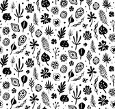 Seamless trendy black pattern with Seeds and leaves on a white background. Vector botanical illustration Stock Photography