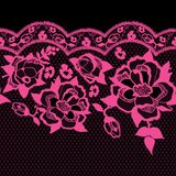 Seamless trendy lace pattern with pink roses. Vector traditional floral design. Seamless trendy lace pattern with pink roses. Vector traditional floral design Stock Images