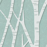Seamless trendy pattern with birch trees. Floral modern 3D wallpaper. Vector illustration. Eps-10 Stock Photo
