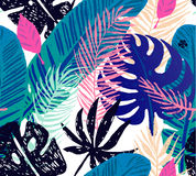 Seamless trendy pattern with blue exotic palm leaves on a white background. Vector botanical illustration Royalty Free Stock Image