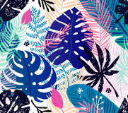 Seamless trendy pattern with colorful palm leaves on a white background. Vector botanical illustration Royalty Free Stock Photography