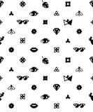 Seamless trendy pattern with fashion elements. Black and white background. Design for fabric. Eye, Bee, crown, diamond Stock Image