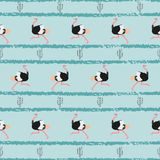 Seamless trendy pattern with ostrich and cactus. Seamless trendy pattern with ostrich and cactus on blue striped background Royalty Free Illustration