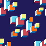 Seamless trendy pattern in the style of Bauhaus. 60s on dark background. Bright floating cubic forms with the effect of stereo. Vector illustration. Texture for vector illustration