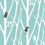 Seamless trendy pattern with trees fnd cats. Floral vintage wallpaper. Fanny vector illustration Stock Photography