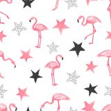 Seamless trendy pattern with watercolor flamingo and stars. Vector background vector illustration