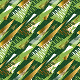 Seamless triangle green and gold luxury pattern Stock Image