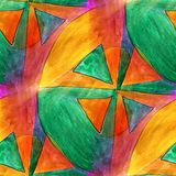 Seamless triangle, green, orange light watercolor artist wallpap Stock Images