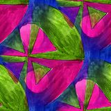 Seamless triangle, green, violet light watercolor artist wallpap Royalty Free Stock Image