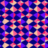 Seamless Triangle Kites Geometric Background. Pink and purple geometric kites on a dark sky background seamless pattern royalty free illustration