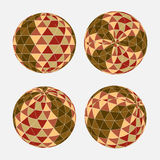 Seamless triangle pattern in circle shape. Vector background. Royalty Free Stock Photo