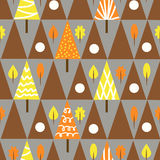 Seamless triangle tree autumn pattern forest retro background Stock Images