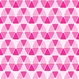 Seamless triangles and dots pattern. Pink triangles and linked dots geometric pattern. Seamless tile stock illustration