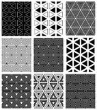 Seamless triangles and hexagons patterns. Triangles and hexagons patterns. Seamless geometric textures set. Vector art Stock Photography
