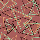 Seamless triangles retro colors pattern background geometric abs Stock Photo