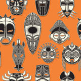 Seamless tribal mask. Tribal mask seamless pattern for design Stock Image