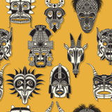Seamless tribal mask. Tribal mask seamless pattern for design Stock Images