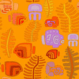 Seamless tribal pattern with aquatic animals and plants Stock Photography