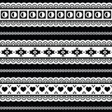 Seamless tribal pattern, aztec black and white background. Vector seamless aztec ornament, ethnic pattern Royalty Free Stock Photo