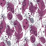 Seamless tribal pattern with feathers in vector graphic illustra. Seamless tribal pattern with feathers  in vector graphic illustration in pink and dark blue Stock Images
