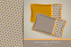 Seamless tribal pattern and set of 2 matching decorative cushions Stock Image