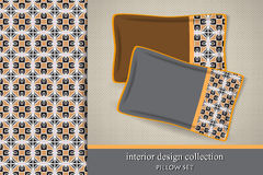 Seamless tribal pattern and set of 2 matching decorative cushions Stock Images