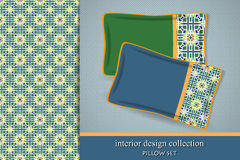 Seamless tribal pattern and set of 2 matching decorative cushions Royalty Free Stock Photos