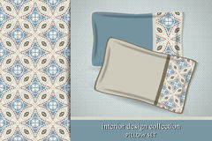 Seamless tribal pattern and set of 2 matching decorative cushions Stock Photos