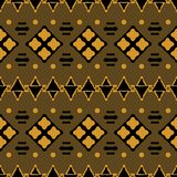 Seamless tribal pattern of squares, sticks, triangles and dots. Seamless geometric tribal pattern. Abstract ethnic vector print of squares, sticks, triangles and Stock Photos