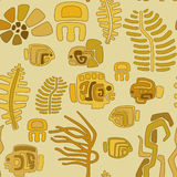Seamless tribal stylized pattern of animals and pl Stock Photo