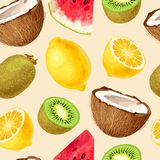 Seamless fruit pattern. Seamless tropic fruits slices on white background stock illustration