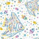 Seamless tropical cartoon cute marine pied fish on white background, mosaic. Can be used as fashion fabric, packing, wallpaper interior, shawl, scarf Royalty Free Stock Image