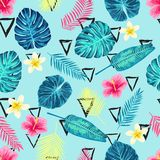 Seamless Tropical Exotic Palm Leaves Pattern. Royalty Free Stock Photography