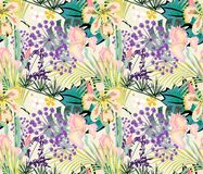 Seamless tropical floral pattern. Orchids, irises on a light background. royalty free illustration