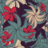 Seamless tropical flower pattern Royalty Free Stock Photos