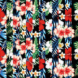 Seamless tropical flowers and leaves stripe patchwork black back royalty free illustration