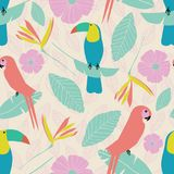Seamless tropical garden pattern with parrots, toucans, leaves, flowers in pink, blue, yellow, green with etched leaf backg stock illustration