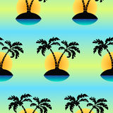 Seamless tropical island an palm`s vector pattern. Royalty Free Stock Image