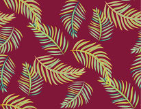 Seamless tropical jungle palm leaves vector pattern background Stock Image